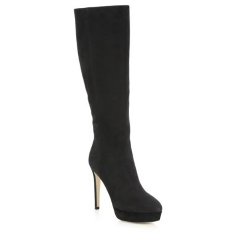 JIMMY CHOO Mara 115 Knee-High Nubuck Leather Platform Boots
