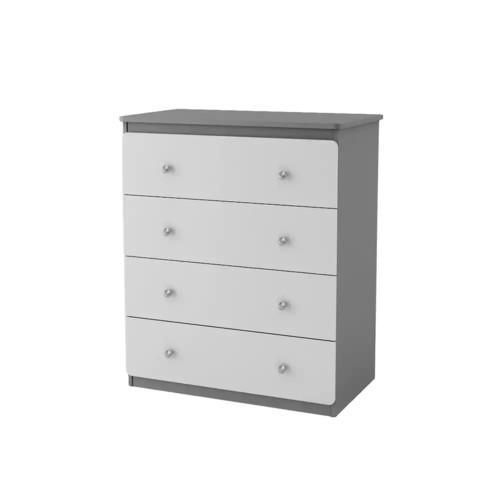 Ameriwood Home Willow Lake 4 Drawer Dresser, Gray [Light Slate Gray/White, 4 Drawer Dresser]