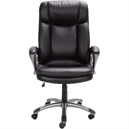Serta Executive Big & Tall Office Chair, Puresoft Faux Leather, Smooth Black, 43675