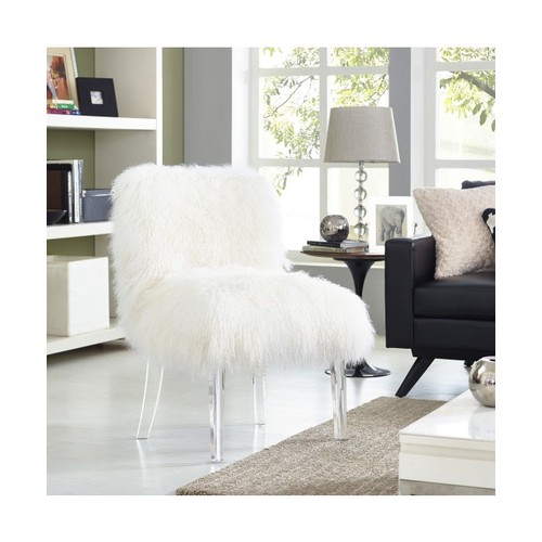 Carlin Sheepskin Lucite Chair, White