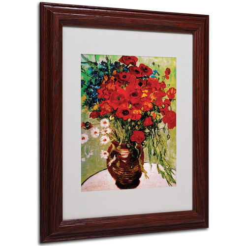 Trademark Global Vincent van Gogh 'Daisies and Poppies' Matted Framed Art [Overall Dimensions : 11x14]