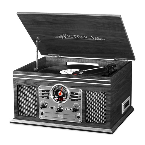 Victrola Wooden 6-in-1 Nostalgic Record Player with Bluetooth and 3 Speed Turntable, Graphite