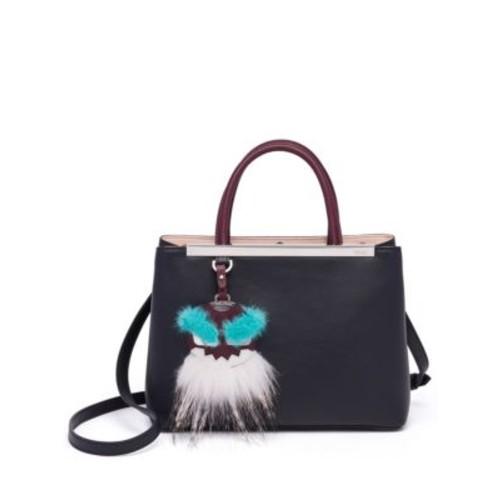 FENDI 2Jours Petite Mink & Fox Fur-Detail Leather Shopper