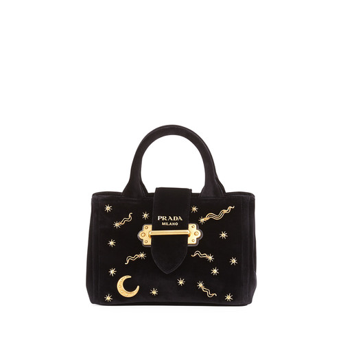PRADA Small Velvet Moon & Star Crossbody Tote Bag, Black (Nero)