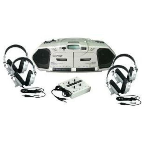 Califone 2385PLC Music Maker Plus Listening Center with Cassette Recorder, 4 Stereo Headphones, 10-Position Jack Box