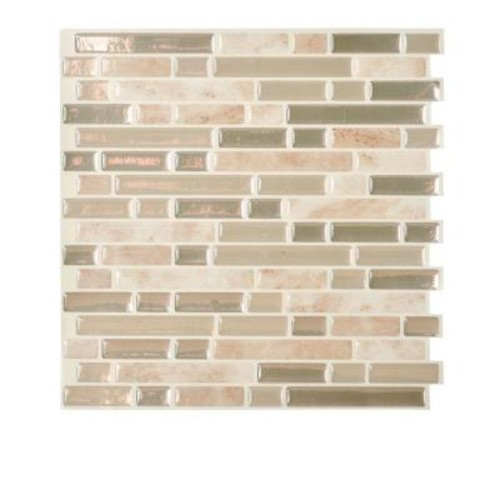 Smart Tiles Bellagio Sabbia 10.06 in. W x 10.00 in. H Peel and Stick Decorative Mosaic Wall Tile Backsplash (12-Pack)