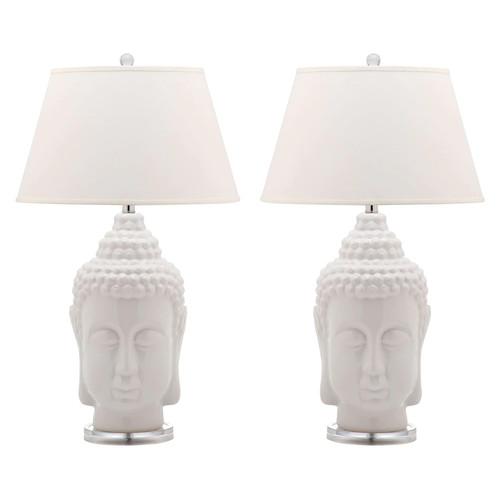 Safavieh Lighting 31-inch Serenity White Buddha Lamp (Set of 2)