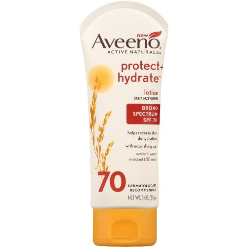 Aveeno Active Naturals Protect + Hydrate Sunscreen Lotion, Broad Spectrum SPF 70, 3 oz (85 g)