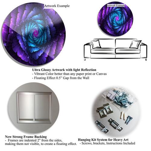 Designart 'Ball of Yarn Green Spiral' Abstract Digital Art Disc Metal Artwork