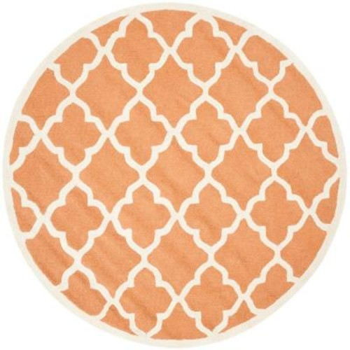 Safavieh Cambridge Coral/Ivory 6 ft. x 6 ft. Round Area Rug