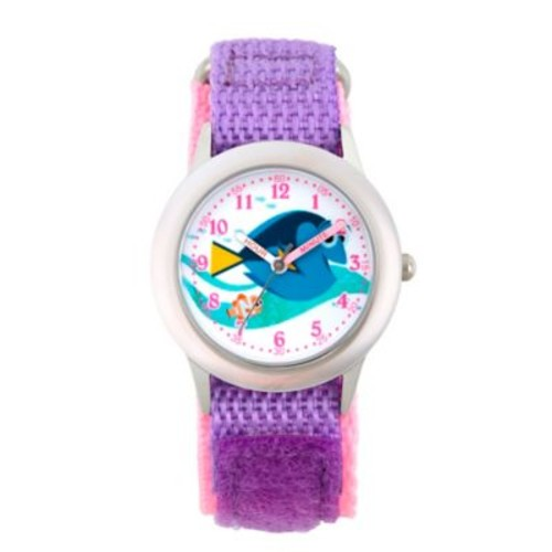 Disney Finding Dory Children's 32mm Time Teacher Watch in Stainless Steel w/Purple Nylon Strap