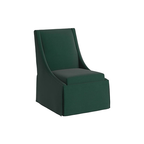 Jody Skirted Side Chair, Forest Green Linen