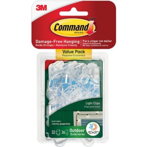 Command Clear Outdoor Light Clips, 16/Pack