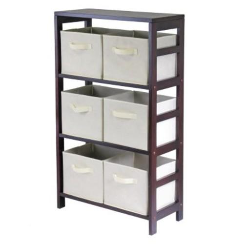 Winsome Wood Capri Wood 3 Section Storage Shelf with 6 Beige Fabric Foldable Baskets [Espresso, beige baskets]
