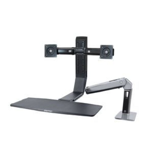 Ergotron WorkFit-A, Dual Monitor Sit-Stand Workstation - Fold Keyboard Up, Fluid Adjustments, Comfortable Computing - 24-312-026