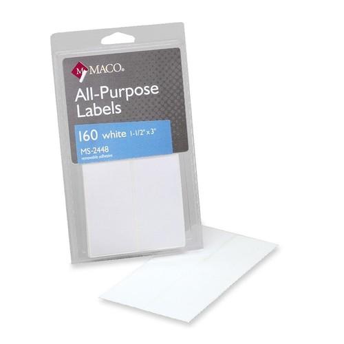 MACO White Multi-Purpose Labels - Removable Adhesive - 1 1/2