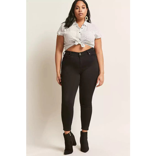 Plus Size Lace-Up Ankle Jeans