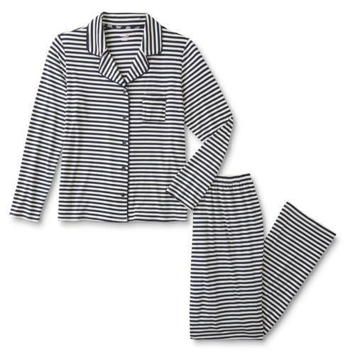 Pink K Women's Plus Pajama Shirt & Pants - Striped
