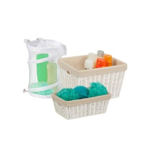 Honey-Can-Do 3-Piece Bathroom Essentials Kit in White