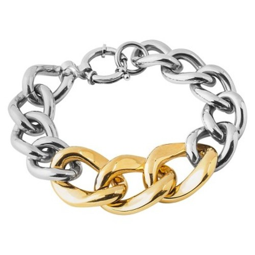 West Coast Jewelry Two-Tone Stainless Steel Curb Link Chain Bracelet