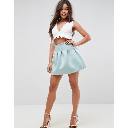 ASOS High Waisted Mini Skirt in Scuba with Lantern Detail