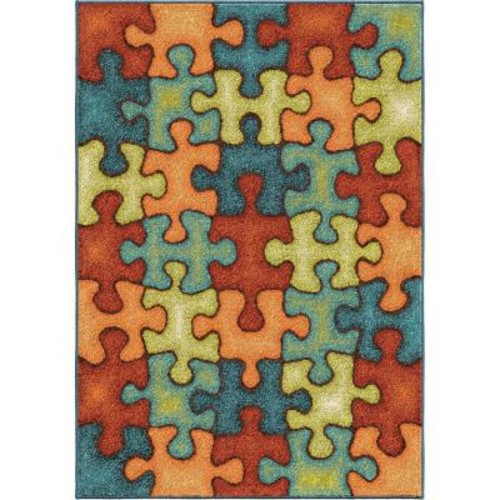 Perplexed Puzzle Multi 3 ft. 10 in. x 5 ft. 2 in. Indoor Area Rug
