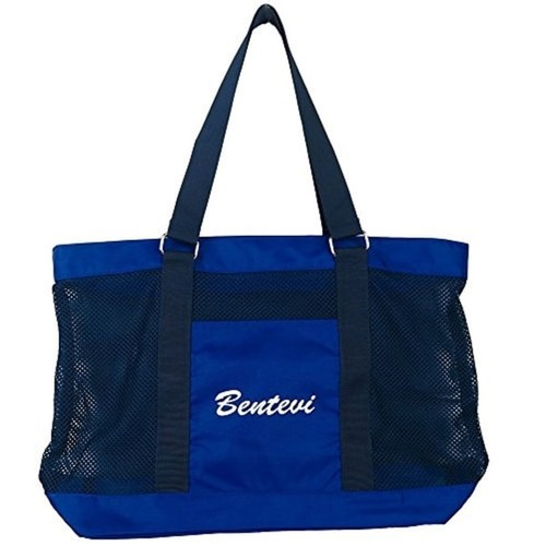 Large Zippered Beach BENTEVI Swim Tote mesh bags. Suitable for Camping Sand Gym, and Beach, Swimming and Travling Mesh Bags.
