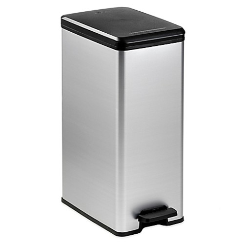 Curver 40-Liter Slim Metallic Trash Can in Silver [Finish : SILVER]