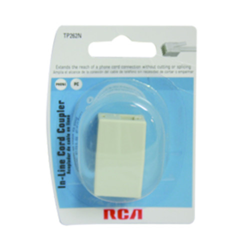 RCA In line Phone Cord Coupler - White