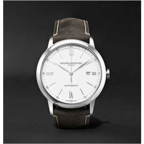 Baume & Mercier - Classima Automatic 42mm Stainless Steel and Leather Watch