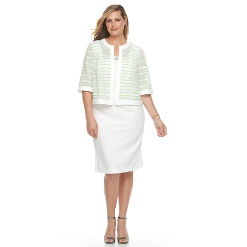 Plus Size Maya Brooke Embellished Sheath Dress & Striped Jacket Set