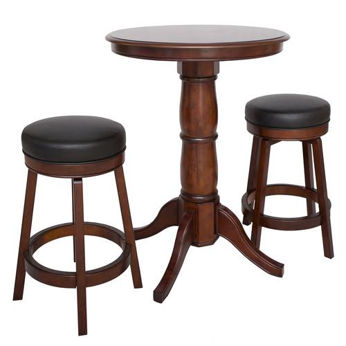Hathaway Oxford 3 Piece Hardwood Pub Table Set - Walnut Finish