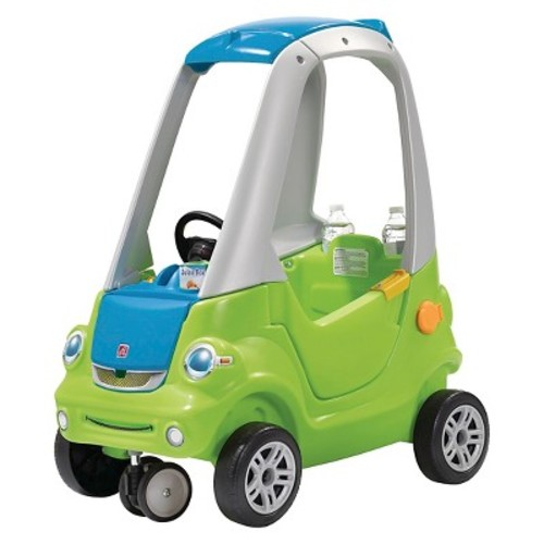 Step2 Easy Turn Coupe Ride On Push Toy Car with Cup holders for both parents and child, Green