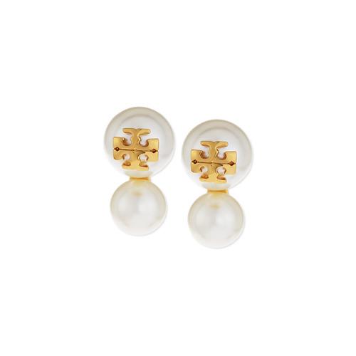 Logo Stud Pearly Double-Drop Earrings