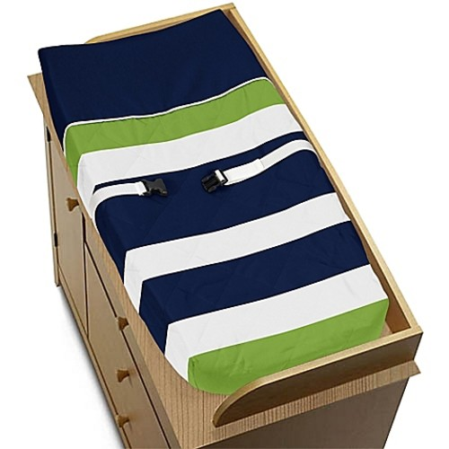 Sweet Jojo Designs Navy and Lime Stripe Changing Pad Cover