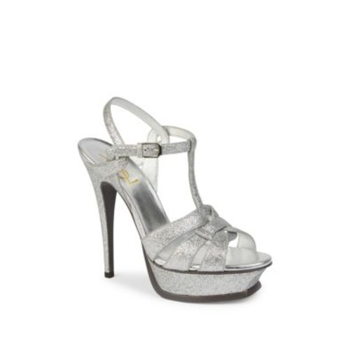 SAINT LAURENT Tribute Glitter Platform Sandals