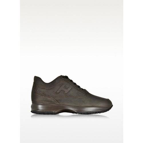 Dark Brown Leather Wedge Sneaker