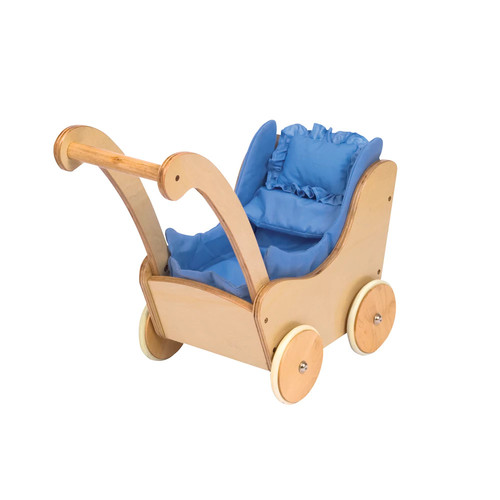 Guidecraft Natural Wooden Doll Buggy - Fits 18