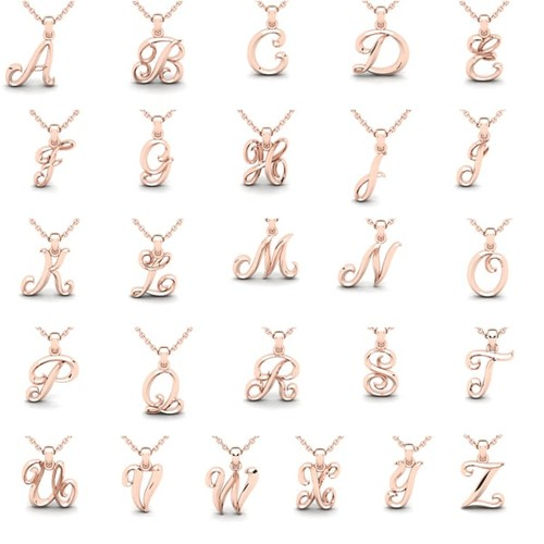 Swirly Initial Necklace In Heavy 10 Karat Rose Gold With 18 Inch Cable Chain [option : A]