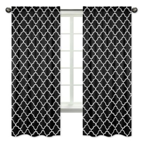 Sweet Jojo Designs Trellis Print 84-Inch Window Panels in Black/White (Set of 2)