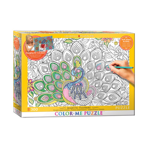EuroPuzzles Color-Me Puzzle - Majestic Feathers: 300 Pcs