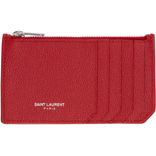 SAINT LAURENT Red Leather Zippered Fragments Wallet