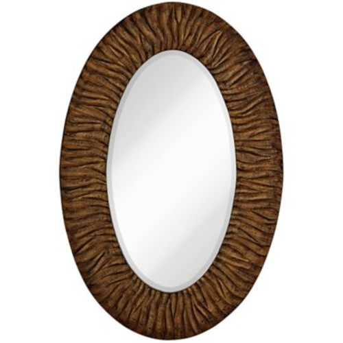 Majestic Mirror Traditional w/ Black Rub Beveled Glass Oval Shaped Accent Wall Mirror; Gloss G