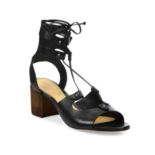 Monik Leather Lace-Up Block Heel Sandals