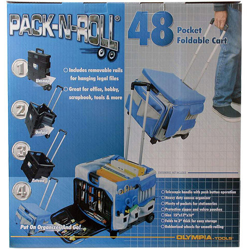 Olympia Tools 85-506 Pack-N-Roll 48 Pocket Foldable Cart [48-Pocket Foldable Cart]