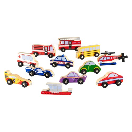 Guidecraft Wooden Vehicle Collection - Set of 12