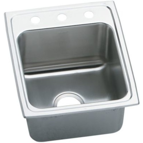 Elkay Lustertone 17'' x 22'' Extra Deep Self-Rimming Kitchen Sink; 3 Hole