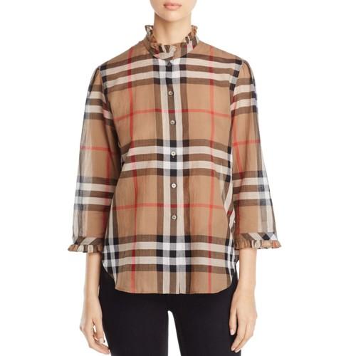 BURBERRY Check Ruffle Collar Shirt