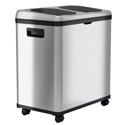 iTouchless 16-gallon Stainless Steel Dual-compartmnet Recycler Trash Bin