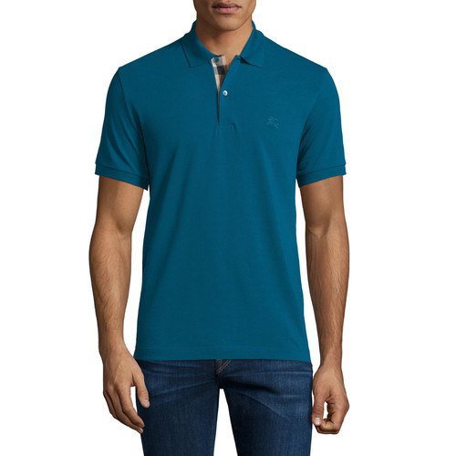 BURBERRY BRIT Short-Sleeve Pique Polo Shirt, Mineral Blue